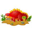 happy red dinosaur cartoon vector image vector image