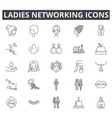 ladies networking line icons signs set vector image vector image