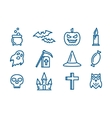 Line art icons set for Halloween vector image