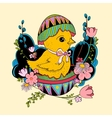 little chicken sitting in Easter vector image vector image
