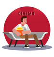 man waiting for the cinema session vector image