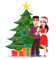 merry christmas greeting card with cute young vector image