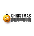 merry christmas yellow ball with cute face vector image vector image