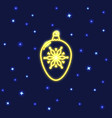 neon christmas bauble icon in line style vector image vector image