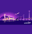 night neon airport vector image vector image