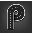 P letter Road font vector image vector image