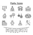 party celebration new year birthday icon set in vector image