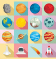 planets icon set flat style vector image vector image