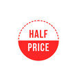 red simple half price badge vector image
