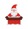 santa claus in chimney icon vector image