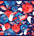 seamless bright pattern with flowers and birds in vector image