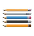 set different lead pencils isolated on white vector image vector image