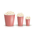 set of full red-and-white striped popcorn vector image