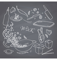 Set of outline hand drawn wok restaurant elements vector image vector image