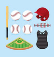 set professional baseball game with equipment vector image vector image