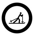 skier black icon in circle vector image vector image