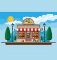 street shop building fruit and vegetable store vector image vector image