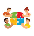 teamwork concept with puzzle business concept vector image