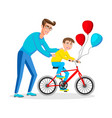 the father teaches his son to ride a bicycle vector image vector image