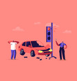 upset driver after car accident on road stressed vector image vector image