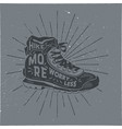 vintage hand drawn hiking boots design hike more vector image