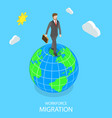 workforce migration flat isometric concept vector image vector image