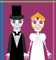 wedding between skeletons 2 vector image