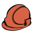 orange safety helmet icon cartoon vector image