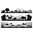 set of black and white landscapes wildlife farm vector image