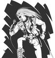 Sketch of Rocker Singing on Concert vector image