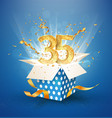 35 th years anniversary and open gift box with vector image vector image