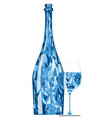 abstract blue crystal bottle with a glass vector image