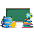 Blackboard and backpack vector image vector image