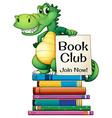 Books and crocodile vector image