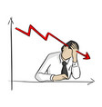 businessman grabbing his head with graph going