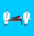 businessman is lying on stretcher doctors carry vector image vector image