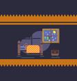 cartoon brown bear sleeping in his bed at home vector image