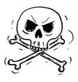 cartoon crossbones skull and bones danger vector image