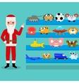 Cartoon Santa Claus shows the toys on the shelf vector image vector image