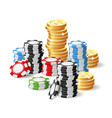 casino and jackpot - gambling chips heap and vector image vector image