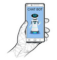 chat bot in mobile phone application robot vector image