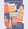 christmas sale banner with nightly winter vector image