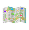 city map with popular location markers folded vector image vector image