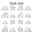 cloud icons set in thin line style vector image vector image