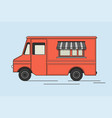 colorful ice cream truck in flat retro style vector image