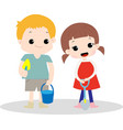 cute happy boy and girl cartoon vector image