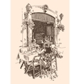 drawing of european street outdoor cafe in Rome vector image