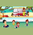 family vacation on the beach vector image vector image