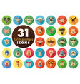 Farm animals flat icons set head