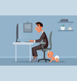father working remotely from home vector image vector image